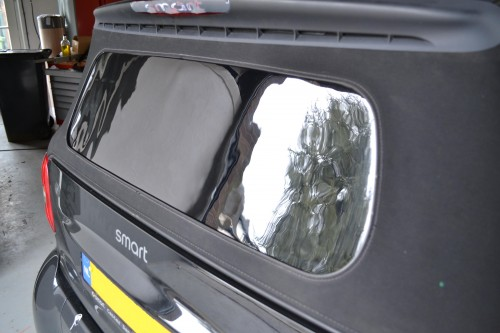 Smart cabrio achterruit